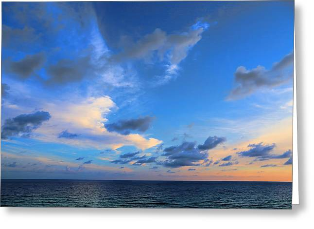 Clouds Drifting Over The Ocean Greeting Card by Theresa Campbell
