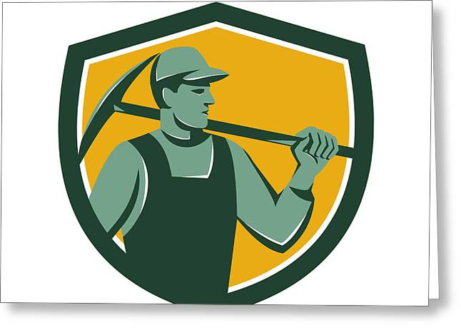 Coal Miner With Pick Axe Shield Retro Greeting Card by Aloysius Patrimonio