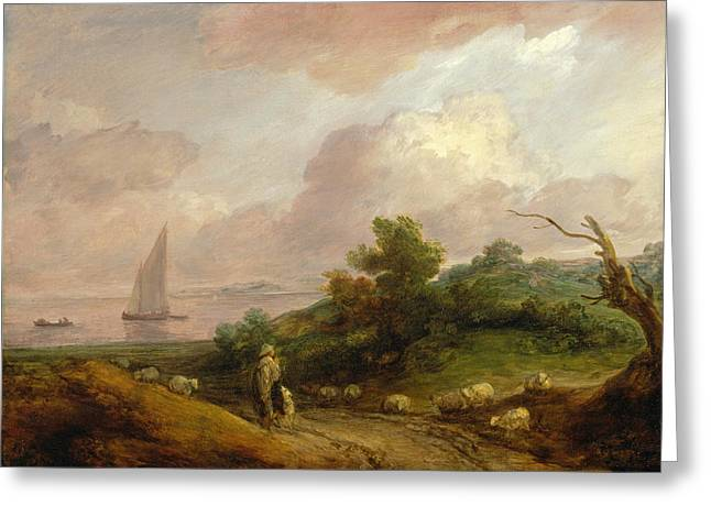 Coastal Landscape With A Shepherd And His Flock Greeting Card