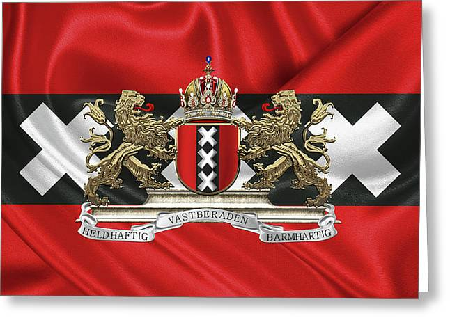 Coat Of Arms Of Amsterdam Over Flag Of Amsterdam Greeting Card by Serge Averbukh
