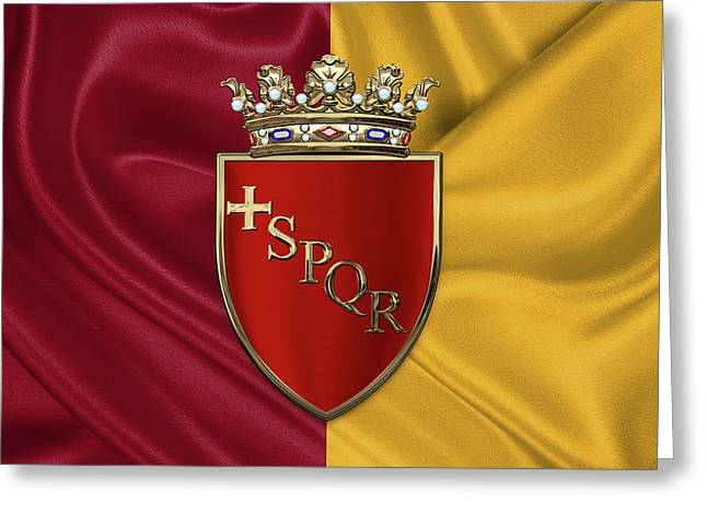Coat Of Arms Of Rome Over Flag Of Rome Greeting Card by Serge Averbukh