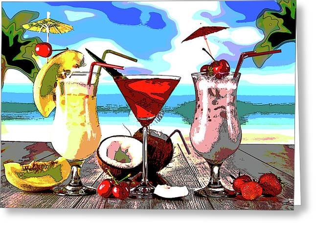 Cocktails On The Beach Greeting Card