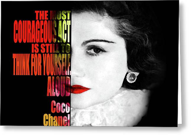 Coco Chanel Motivational Inspirational Quote 2 - By Diana Van Greeting Card