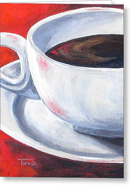 Coffee On Red Greeting Card by Torrie Smiley