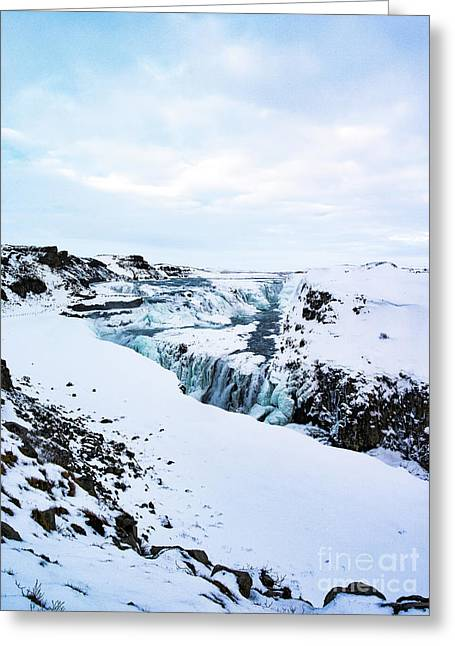 Cold Winter Day At Gullfoss, Iceland Greeting Card