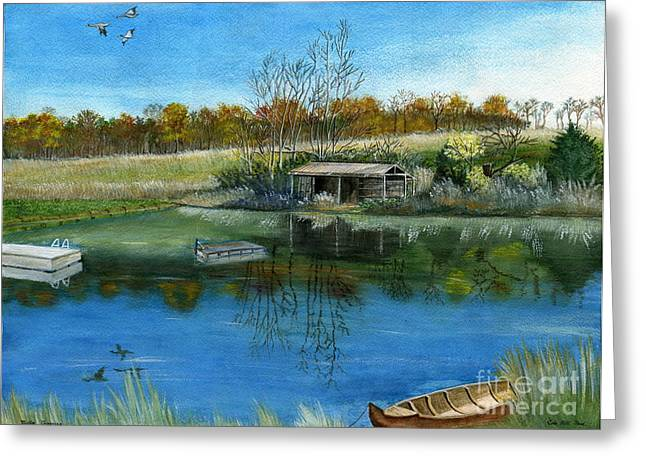 Greeting Card featuring the painting Cole Hill Pond by Melly Terpening