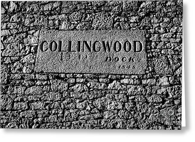 Collingwood Dock Nameplate In The Wall Liverpool Docks Dockland Uk Greeting Card