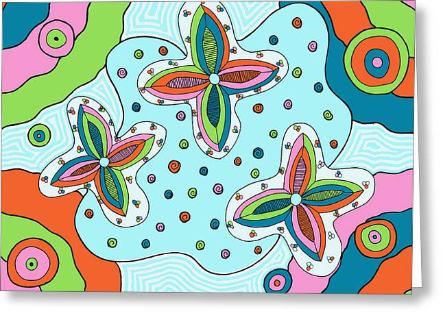 Greeting Card featuring the drawing Color Collision by Jill Lenzmeier