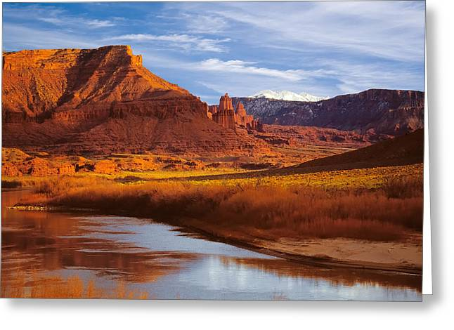 Colorado River At Fisher Towers Greeting Card by Utah Images