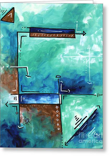 Colorful Abstract Pop Art Style Original Painting Sea Green Blues And Brown By Megan Duncanson Greeting Card