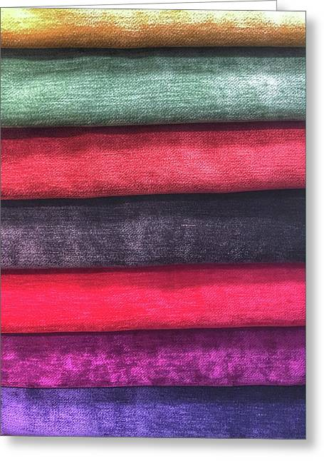 Colorful Fabric Samples Greeting Card by Tom Gowanlock