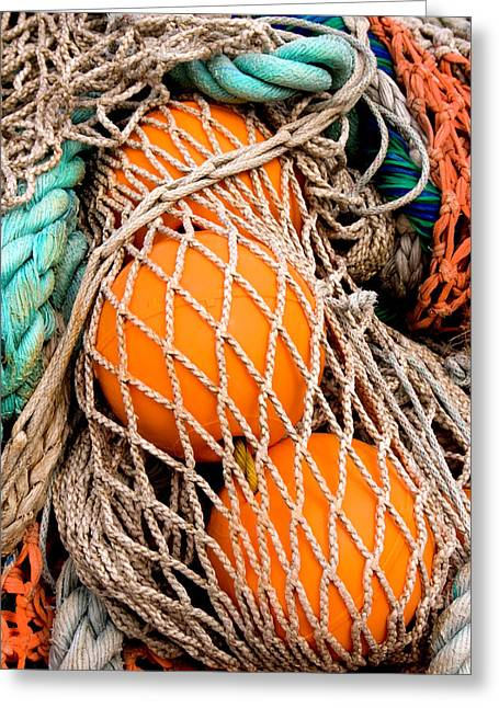 Colorful Fishing Nets And Buoys Greeting Card