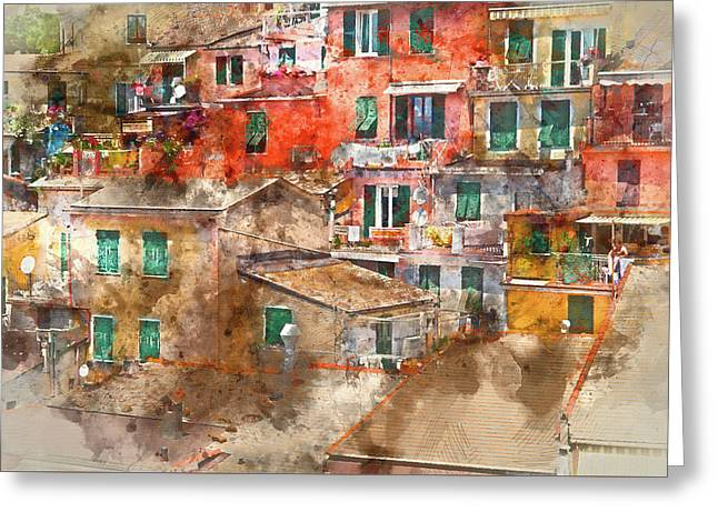 Colorful Homes In Cinque Terre Italy Greeting Card