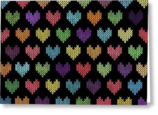Colorful Knitted Hearts Greeting Card