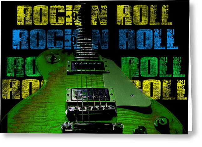 Greeting Card featuring the photograph Colorful Music Rock N Roll Guitar Retro Distressed  by Guitar Wacky