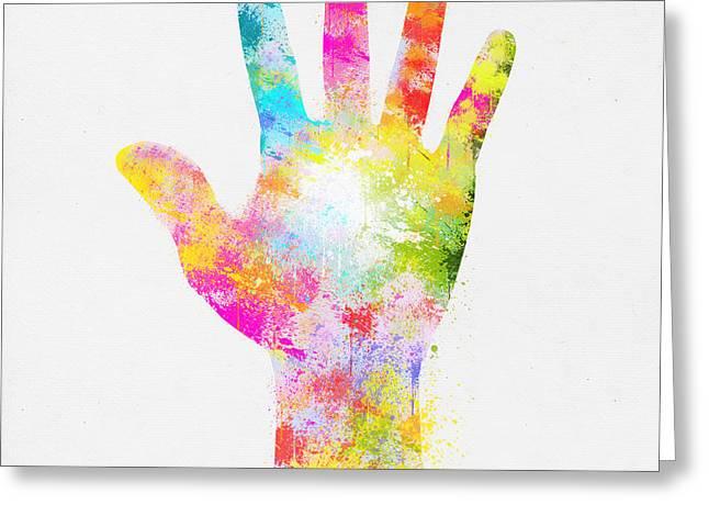 Colorful Painting Of Hand Greeting Card by Setsiri Silapasuwanchai