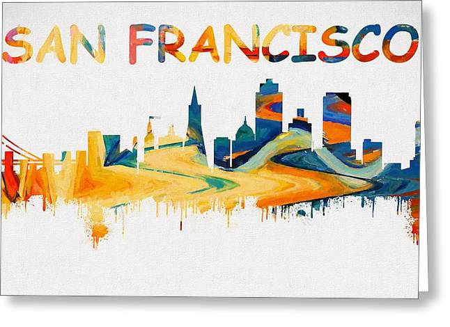 Colorful San Francisco Skyline Silhouette Greeting Card