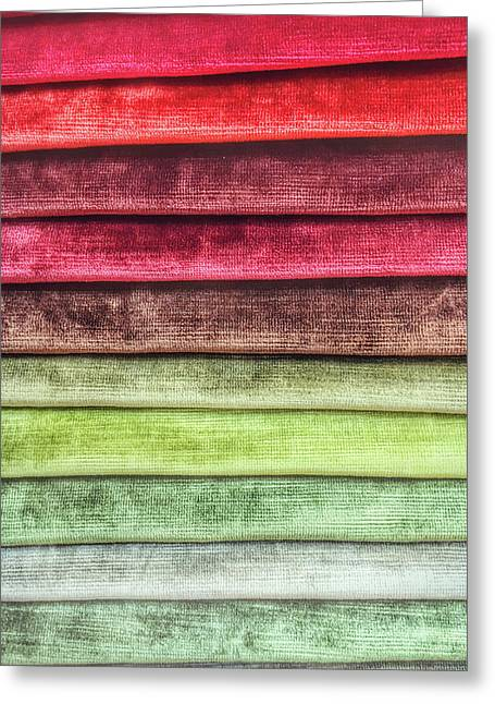 Colorful Textiles Background Greeting Card