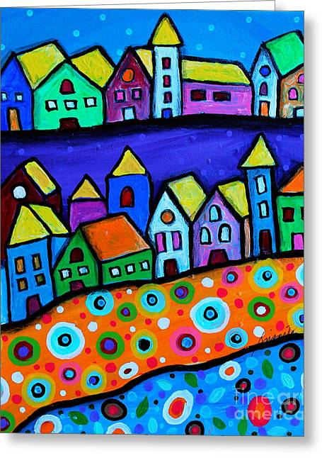 Colorful Town Greeting Card by Pristine Cartera Turkus