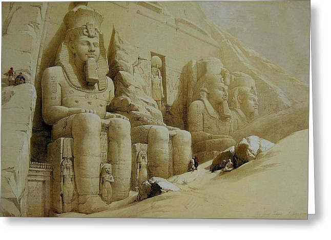 Colossal Figures In Front Of The Great Temple Of Aboo-simbel Greeting Card