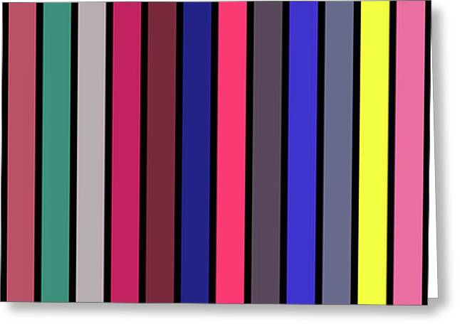 Colour Alphabet  - Stripe Grid - On Black Greeting Card