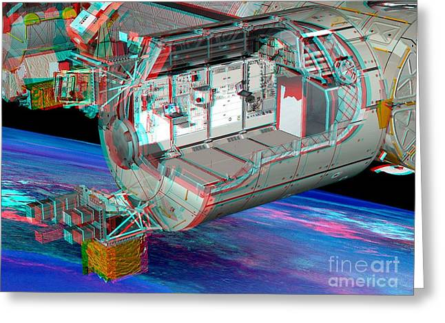 Columbus Iss Module, Stereo Image Greeting Card by David Ducros