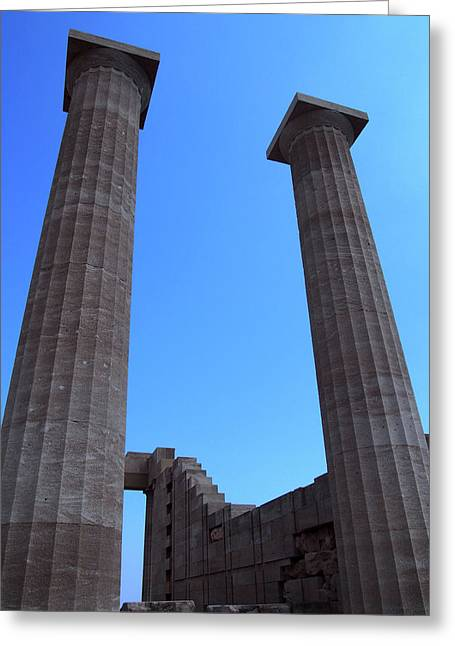 Columns Of The Acropolis In Lindos Rhodes With Blue Sky In Summe Greeting Card