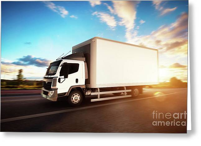 Commercial Cargo Delivery Truck With Blank White Trailer Driving On Highway. Greeting Card by Michal Bednarek