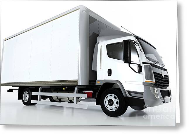Commercial Cargo Delivery Truck With Blank White Trailer. Generic, Brandless Design. Greeting Card by Michal Bednarek