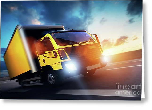 Commercial Cargo Delivery Truck With Trailer Driving On Highway At Sunset. Greeting Card by Michal Bednarek