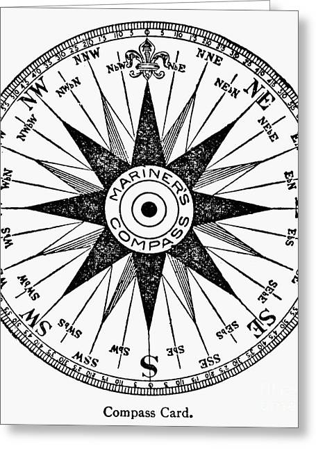 Accuracy Greeting Cards - Compass Rose Greeting Card by Granger