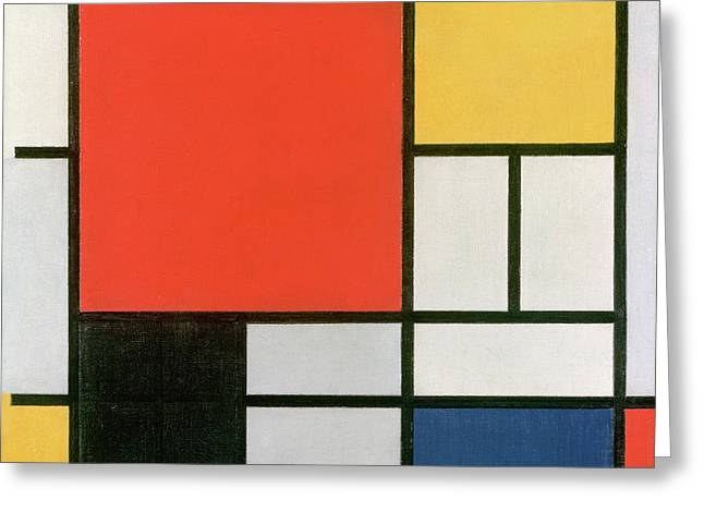Composition In Red, Yellow, Blue And Black Greeting Card by Piet Mondrian