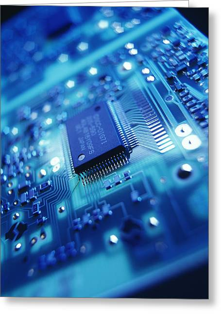 Circuit Board Greeting Cards - Computer Circuit Board Greeting Card by Tek Image