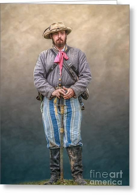 Confederate Soldier With Sword Portrait Greeting Card by Randy Steele