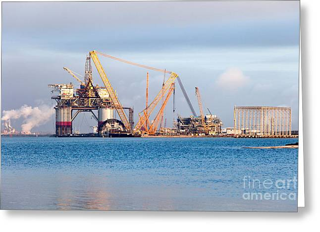 Construction Of Oil & Gas Platform Greeting Card by Inga Spence