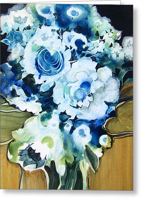 Contemporary Floral In Blue And White Greeting Card by Lois Mountz