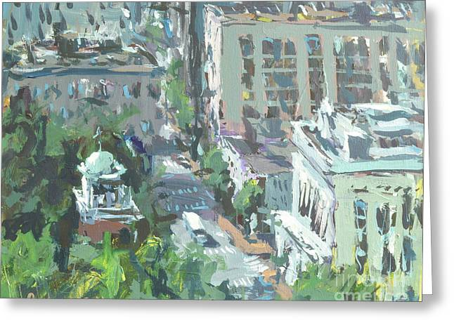 Greeting Card featuring the painting Contemporary Richmond Virginia Cityscape Painting by Robert Joyner