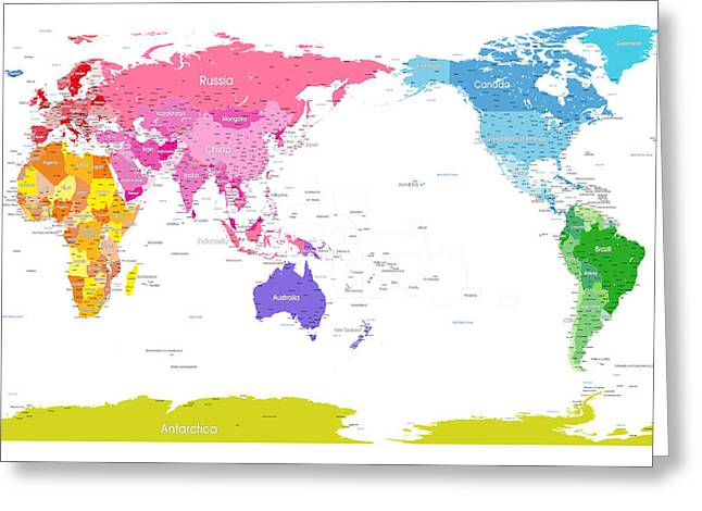 Continents World Map Greeting Card by Michael Tompsett