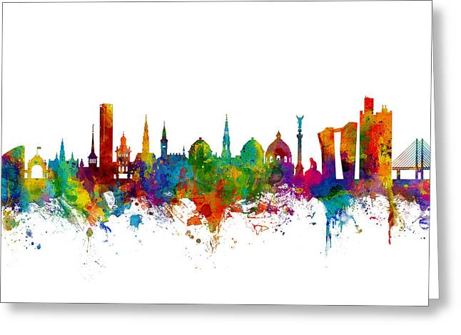 Copenhagen Denmark Skyline Greeting Card