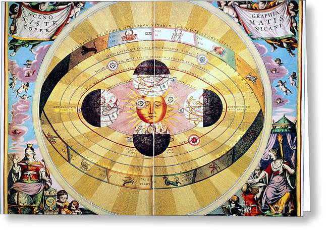 Coelestis Greeting Cards - Copernican Universe, 1660 Greeting Card by Granger