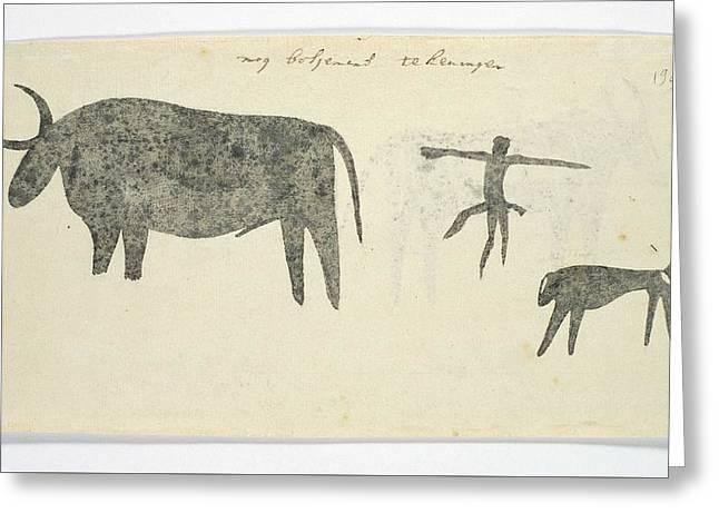 Copies After San Rock-paintings Of An Ox, A Baboon, And A Man, Robert Jacob Gordon, 1777 Greeting Card