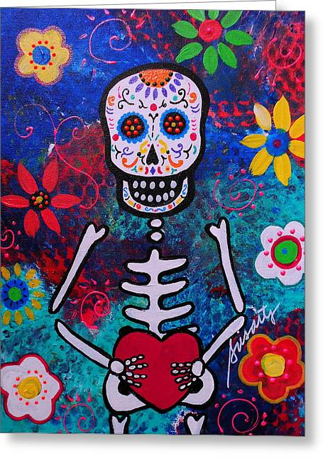 Corazon Day Of The Dead Greeting Card by Pristine Cartera Turkus