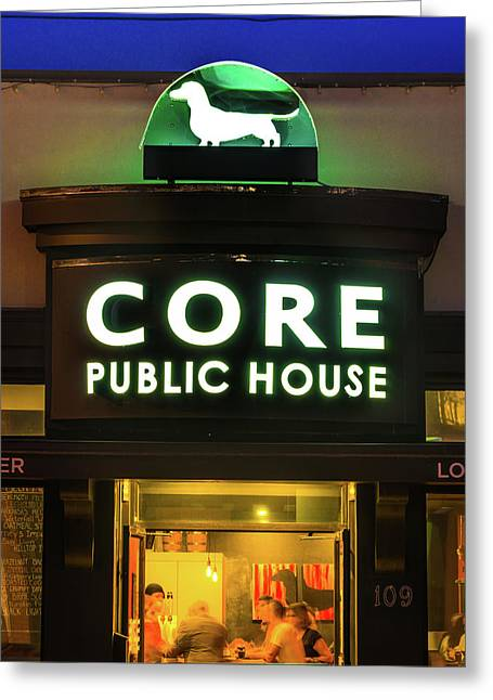 Core Public House - Downtown Bentonville - Black And White Greeting Card by Gregory Ballos