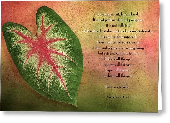 Description Greeting Cards - 1 Corinthians 13 LOVE Greeting Card by Bonnie Barry