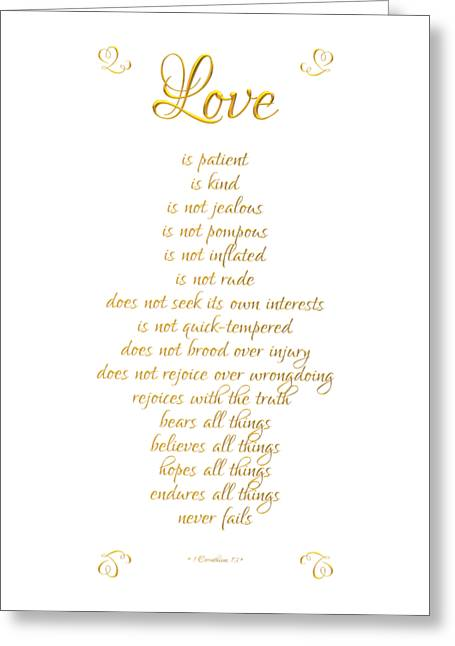 1 Corinthians 13 Love Is White Background Greeting Card