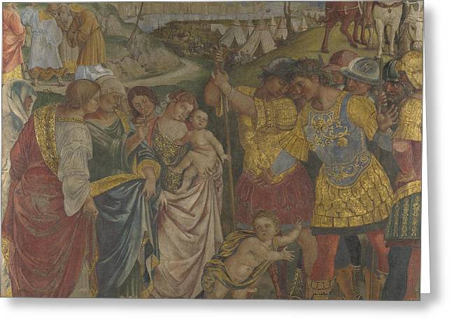 Coriolanus Persuaded By His Family To Spare Rome Greeting Card by Luca Signorelli