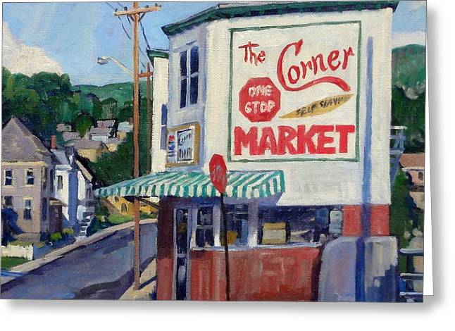 Corner Market Greeting Card by Thor Wickstrom