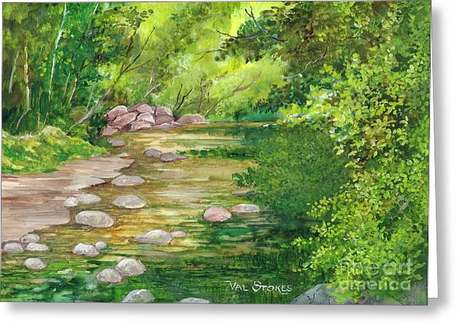 Coromandel Creek Greeting Card by Val Stokes