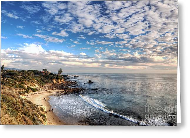 Corona Del Mar Shoreline Greeting Card by Eddie Yerkish
