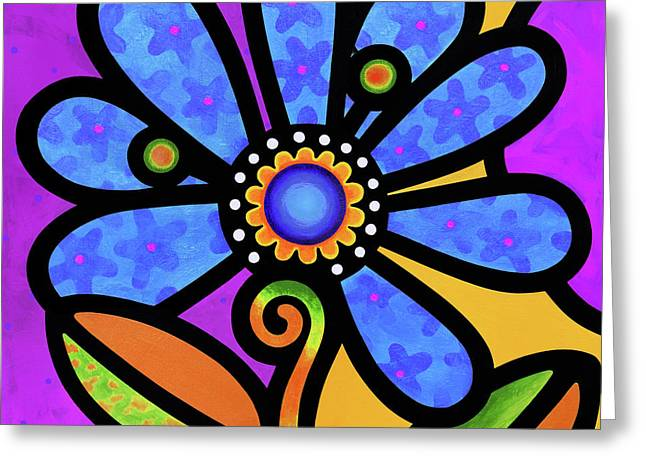 Cosmic Daisy In Blue Greeting Card